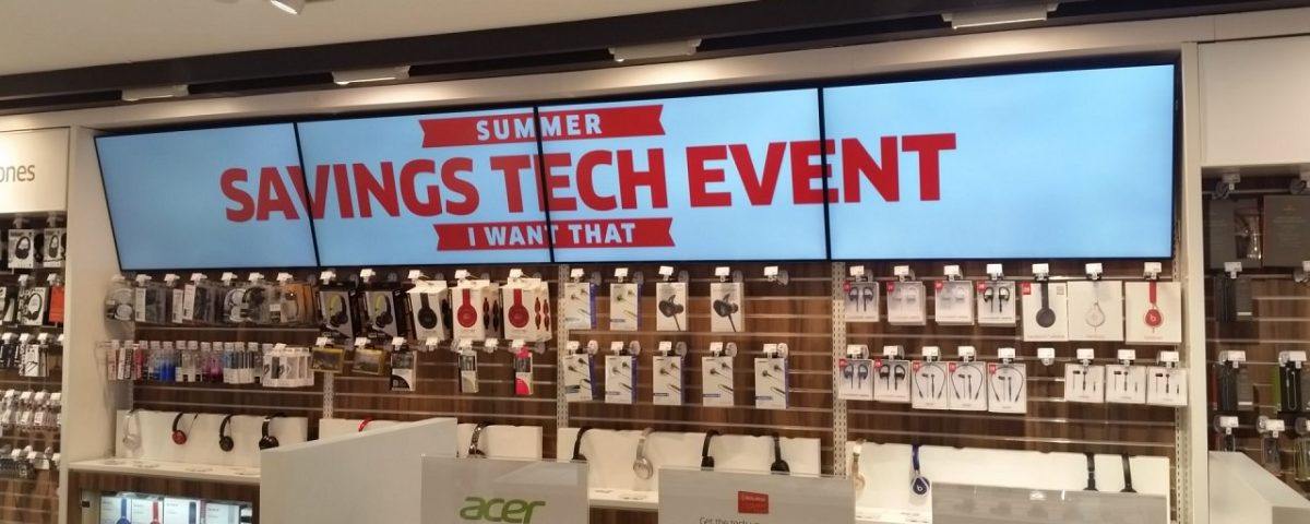 Digital Video Wall Impact and attracting customers showing videos covering multiple screens at THE SOURCE located in Yorkdale Mall, Toronto
